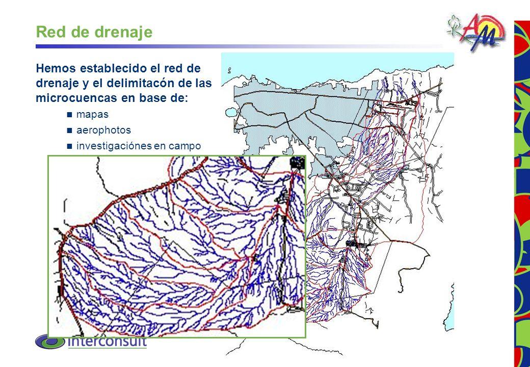10 Red de drenaje Hemos establecido el red de drenaje y el delimitacón de las microcuencas en base de: mapas aerophotos investigaciónes en campo