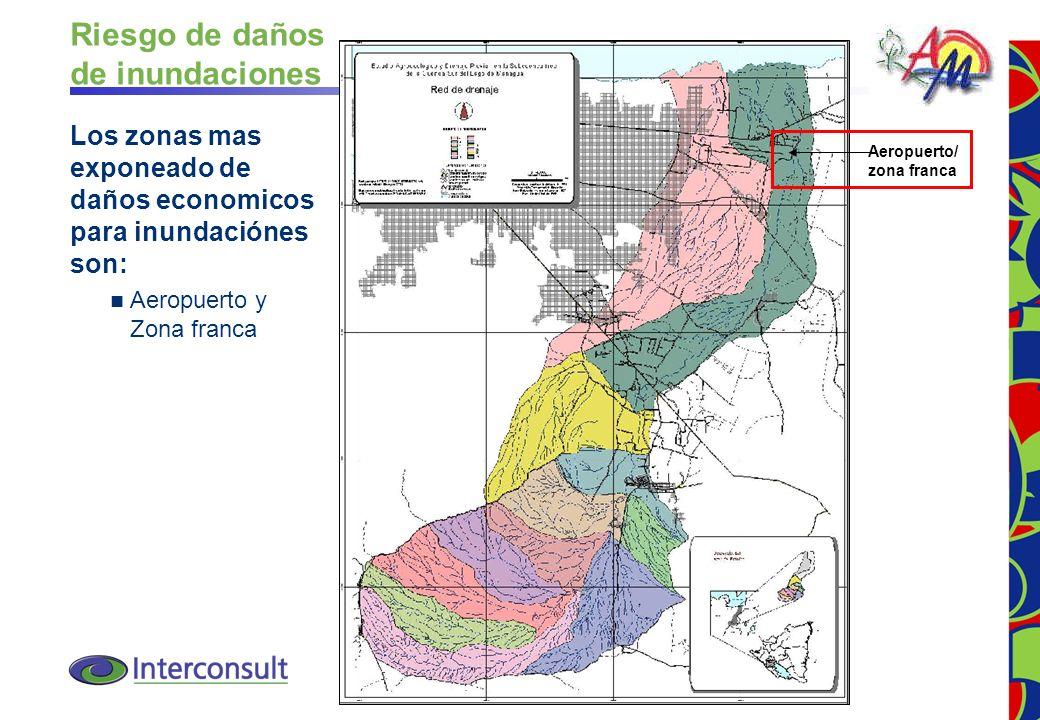 12 Aeropuerto/ zona franca Riesgo de daños de inundaciones Los zonas mas exponeado de daños economicos para inundaciónes son: Aeropuerto y Zona franca