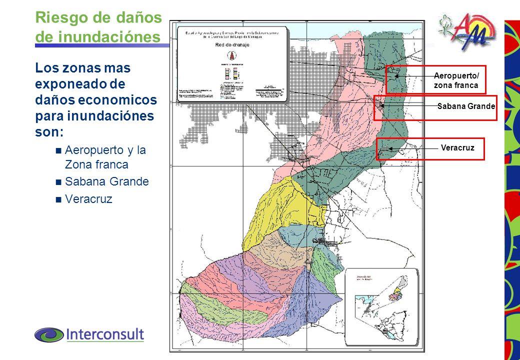 14 Aeropuerto/ zona franca Sabana Grande Veracruz Riesgo de daños de inundaciónes Los zonas mas exponeado de daños economicos para inundaciónes son: A