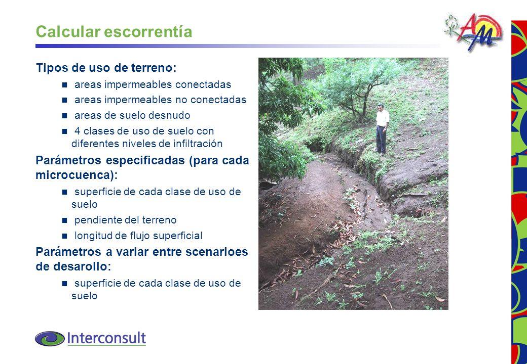 24 Calcular escorrentía Tipos de uso de terreno: areas impermeables conectadas areas impermeables no conectadas areas de suelo desnudo 4 clases de uso