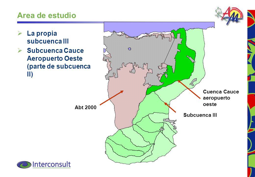 7 Area de estudio La propia subcuenca III Subcuenca Cauce Aeropuerto Oeste (parte de subcuenca II) Subcuenca III Cuenca Cauce aeropuerto oeste Abt 200
