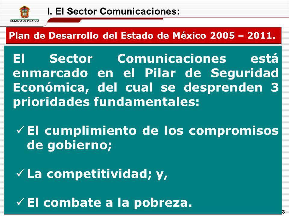 3 I. El Sector Comunicaciones: Plan de Desarrollo del Estado de México 2005 – 2011. El Sector Comunicaciones está enmarcado en el Pilar de Seguridad E