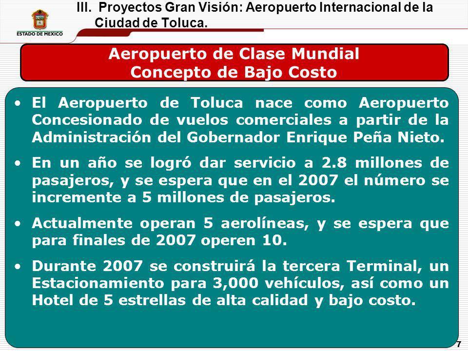 7 Aeropuerto de Clase Mundial Concepto de Bajo Costo El Aeropuerto de Toluca nace como Aeropuerto Concesionado de vuelos comerciales a partir de la Ad
