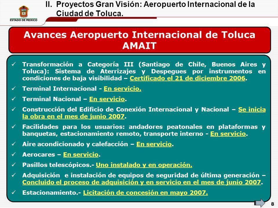 9 Obras complementarias Obra Inversión Adicional (MDP) * Descripción Bulevar Aeropuerto y Distribuidor Vial Tollocan-Aeropuerto y Puentes Vehiculares 705 Ampliación a 10 carriles.