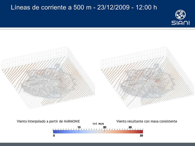 Líneas de corriente a 500 m - 23/12/2009 - 12:00 h Viento interpolado a partir de HARMONIEViento resultante con masa consistente
