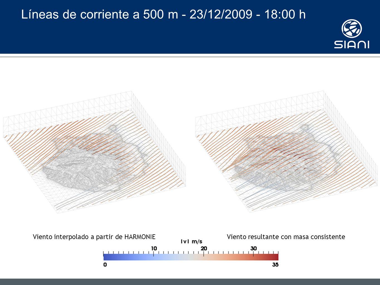 Líneas de corriente a 500 m - 23/12/2009 - 18:00 h Viento interpolado a partir de HARMONIEViento resultante con masa consistente