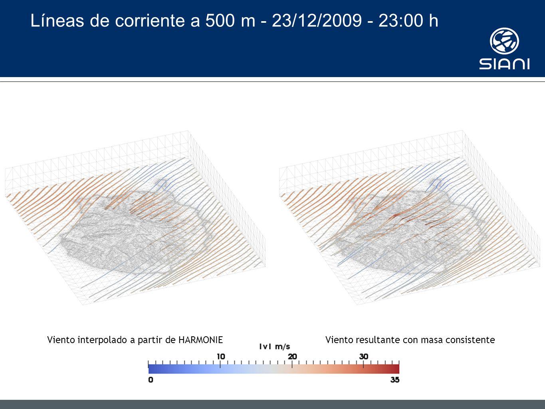 Líneas de corriente a 500 m - 23/12/2009 - 23:00 h Viento interpolado a partir de HARMONIEViento resultante con masa consistente