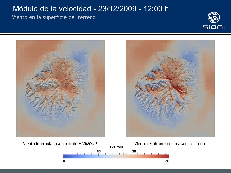 Módulo de la velocidad - 23/12/2009 - 12:00 h Viento en la superficie del terreno Viento Interpolado a partir de HARMONIEViento resultante con masa consistente