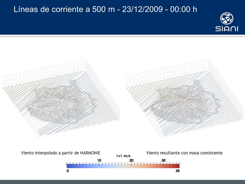 Líneas de corriente a 500 m - 23/12/2009 - 00:00 h Viento interpolado a partir de HARMONIEViento resultante con masa consistente