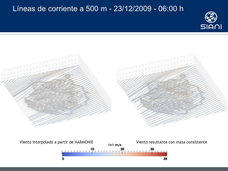Líneas de corriente a 500 m - 23/12/2009 - 06:00 h Viento interpolado a partir de HARMONIEViento resultante con masa consistente