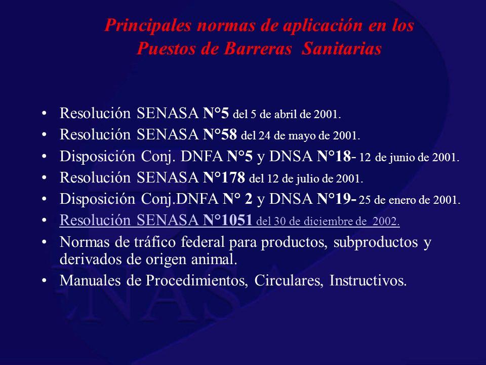 Principales normas de aplicación en los Puestos de Barreras Sanitarias Resolución SENASA N°5 del 5 de abril de 2001. Resolución SENASA N°58 del 24 de