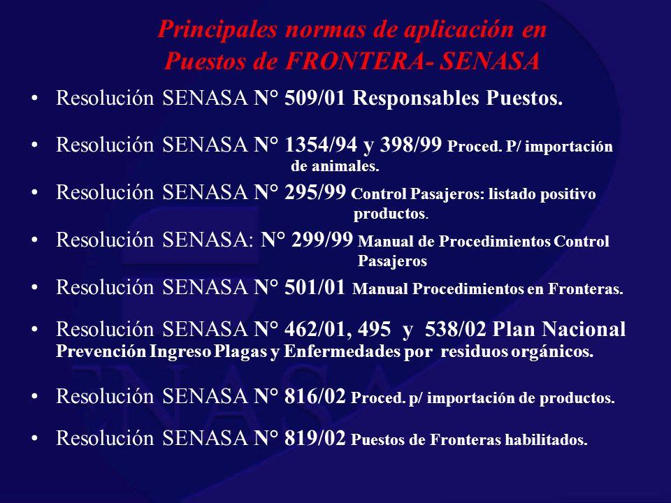 Principales normas de aplicación en Puestos de FRONTERA- SENASA Resolución SENASA N° 509/01 Responsables Puestos. Resolución SENASA N° 1354/94 y 398/9