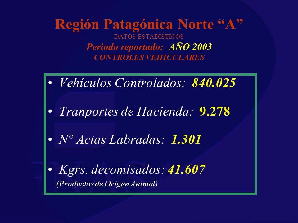 Región Patagónica Norte A DATOS ESTADÍSTICOS Periodo reportado: AÑO 2003 CONTROLES VEHICULARES Vehículos Controlados: 840.025 Tranportes de Hacienda: