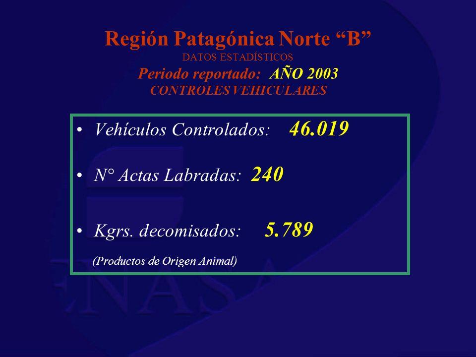 Región Patagónica Norte B DATOS ESTADÍSTICOS Periodo reportado: AÑO 2003 CONTROLES VEHICULARES Vehículos Controlados: 46.019 N° Actas Labradas: 240 Kg
