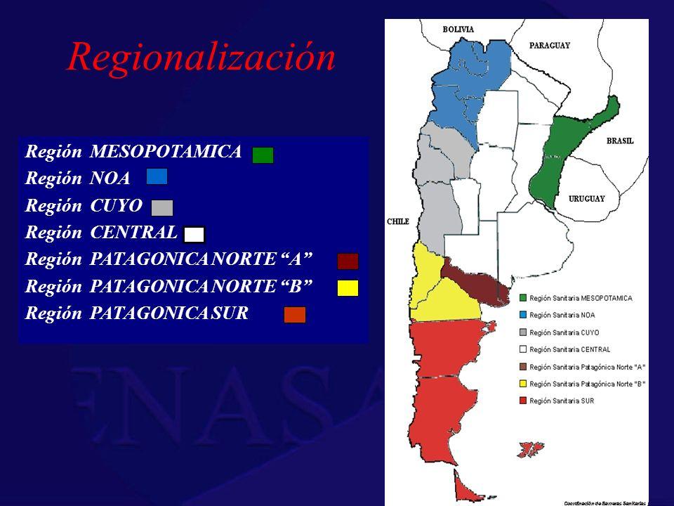 Regionalización Región MESOPOTAMICA Región NOA Región CUYO Región CENTRAL Región PATAGONICA NORTE A Región PATAGONICA NORTE B Región PATAGONICA SUR
