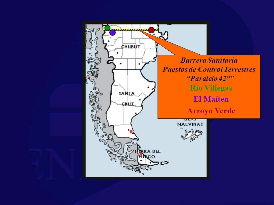 Barrera Sanitaria Puestos de Control Terrestres Paralelo 42° Río Villegas El Maíten Arroyo Verde