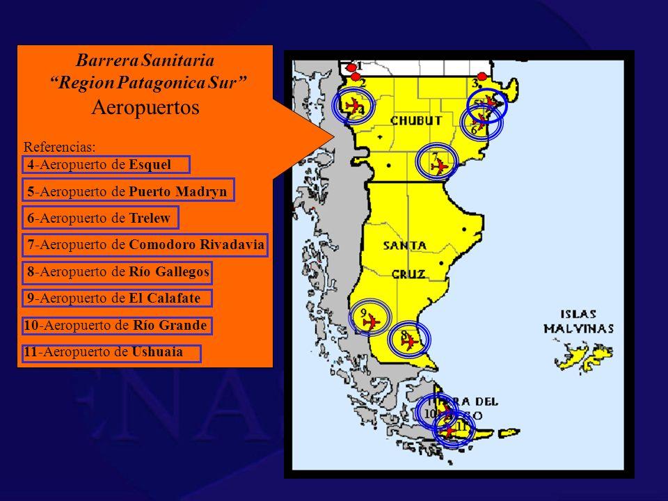 Barrera Sanitaria Region Patagonica Sur Aeropuertos Referencias: 4-Aeropuerto de Esquel 5-Aeropuerto de Puerto Madryn 6-Aeropuerto de Trelew 7-Aeropue