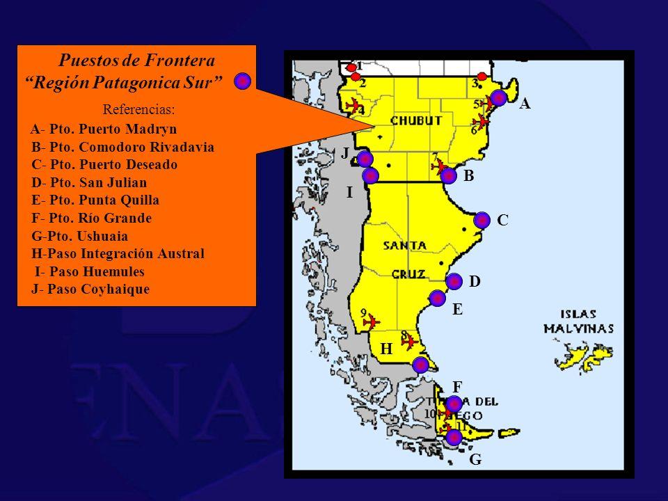 Puestos de Frontera Región Patagonica Sur Referencias: A- Pto. Puerto Madryn B- Pto. Comodoro Rivadavia C- Pto. Puerto Deseado D- Pto. San Julian E- P