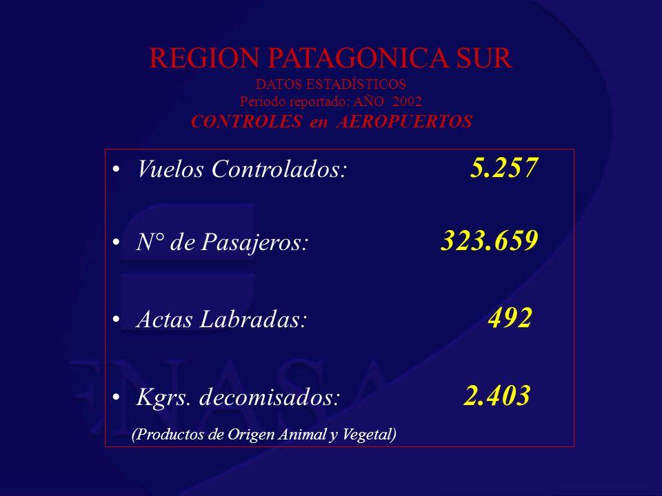 REGION PATAGONICA SUR DATOS ESTADÍSTICOS Periodo reportado: AÑO 2002 CONTROLES en AEROPUERTOS Vuelos Controlados: 5.257 N° de Pasajeros: 323.659 Actas