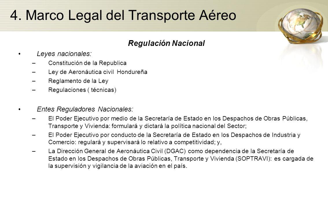4. Marco Legal del Transporte Aéreo Regulación Nacional Leyes nacionales: –Constitución de la Republica –Ley de Aeronáutica civil Hondureña –Reglament