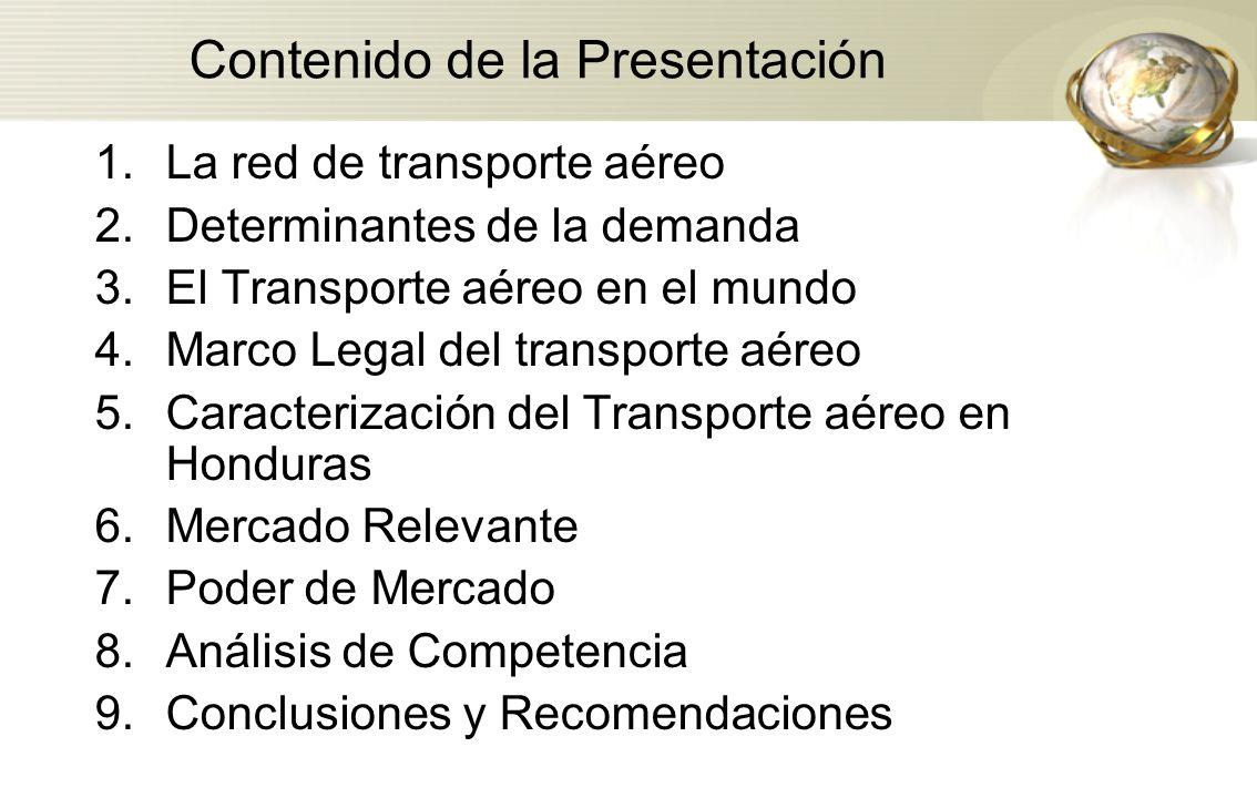 Contenido de la Presentación 1.La red de transporte aéreo 2.Determinantes de la demanda 3.El Transporte aéreo en el mundo 4.Marco Legal del transporte