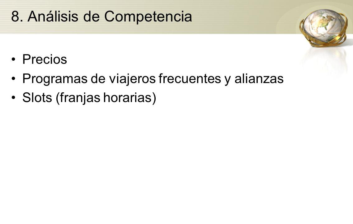 8. Análisis de Competencia Precios Programas de viajeros frecuentes y alianzas Slots (franjas horarias)