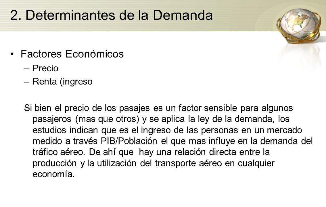 2. Determinantes de la Demanda Factores Económicos –Precio –Renta (ingreso Si bien el precio de los pasajes es un factor sensible para algunos pasajer