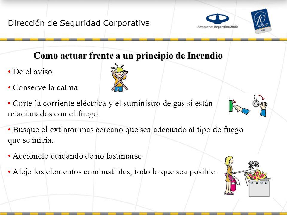 Dirección de Seguridad Corporativa Como actuar frente a un principio de Incendio De el aviso.