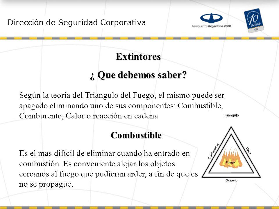 Dirección de Seguridad Corporativa Extintores ¿ Que debemos saber.