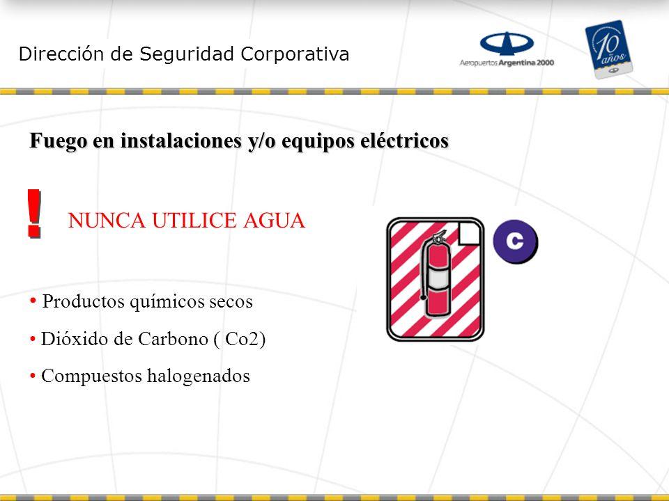 Dirección de Seguridad Corporativa Fuego en instalaciones y/o equipos eléctricos NUNCA UTILICE AGUA Productos químicos secos Dióxido de Carbono ( Co2) Compuestos halogenados