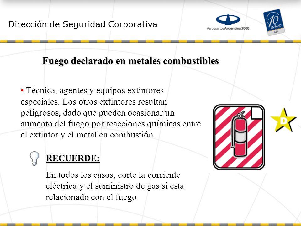 Dirección de Seguridad Corporativa Fuego declarado en metales combustibles Técnica, agentes y equipos extintores especiales.