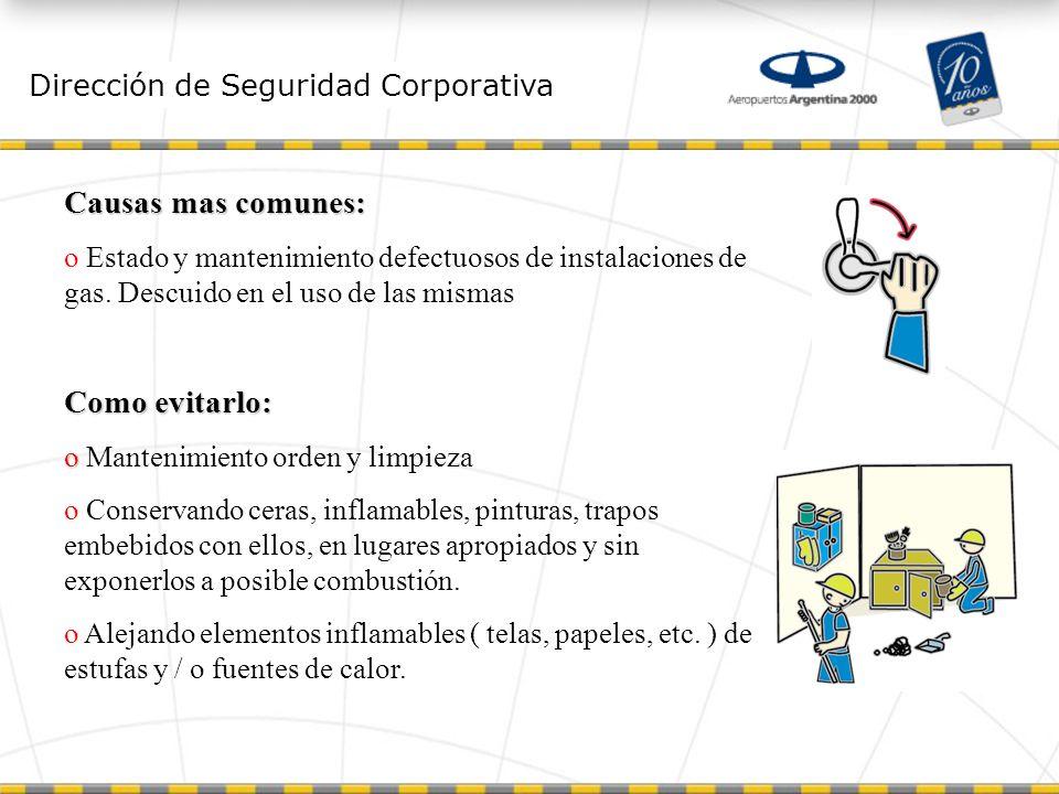 Dirección de Seguridad Corporativa Causas mas comunes: o Estado y mantenimiento defectuosos de instalaciones de gas.