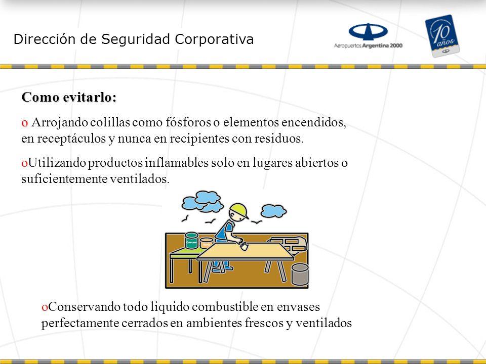 Dirección de Seguridad Corporativa Reacción en cadena Se la detiene interrumpiendo químicamente las reacciones producidas en las llamas.
