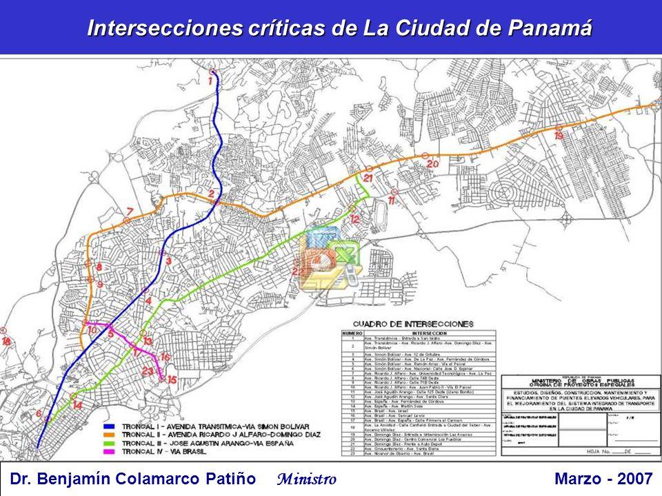 Intersecciones críticas de La Ciudad de Panamá Dr. Benjamín Colamarco Patiño Ministro Marzo - 2007