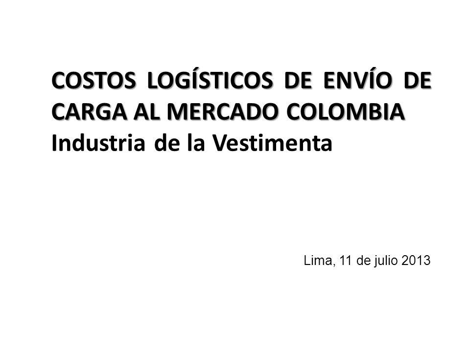 Lima, 11 de julio 2013 COSTOS LOGÍSTICOS DE ENVÍO DE CARGA AL MERCADO COLOMBIA Industria de la Vestimenta