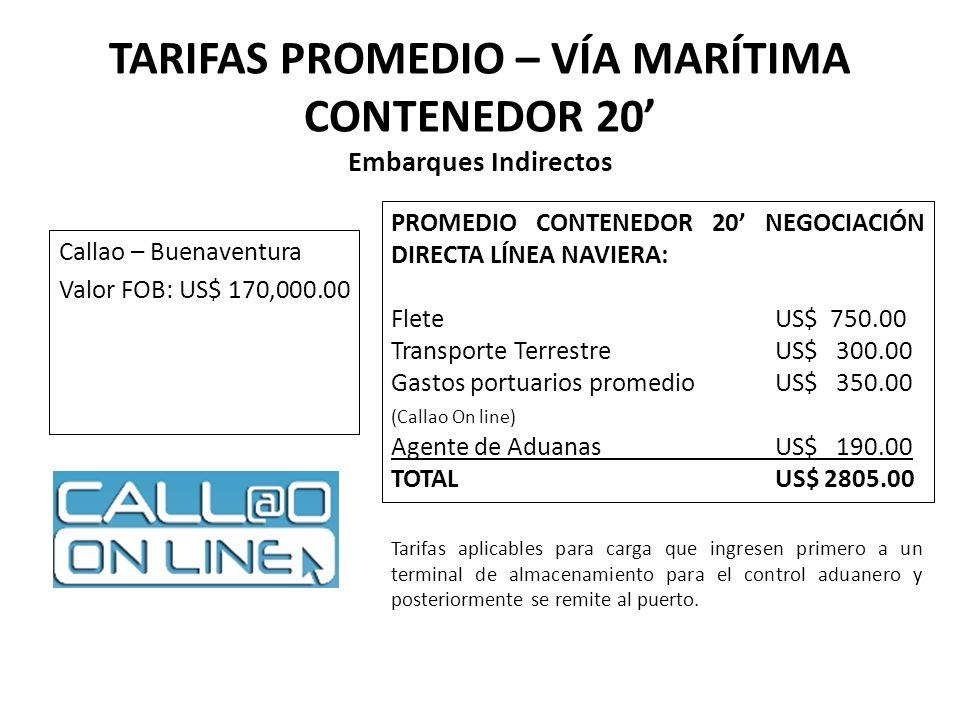 TARIFAS PROMEDIO – VÍA MARÍTIMA CONTENEDOR 20 Embarques Indirectos Callao – Buenaventura Valor FOB: US$ 170,000.00 PROMEDIO CONTENEDOR 20 NEGOCIACIÓN