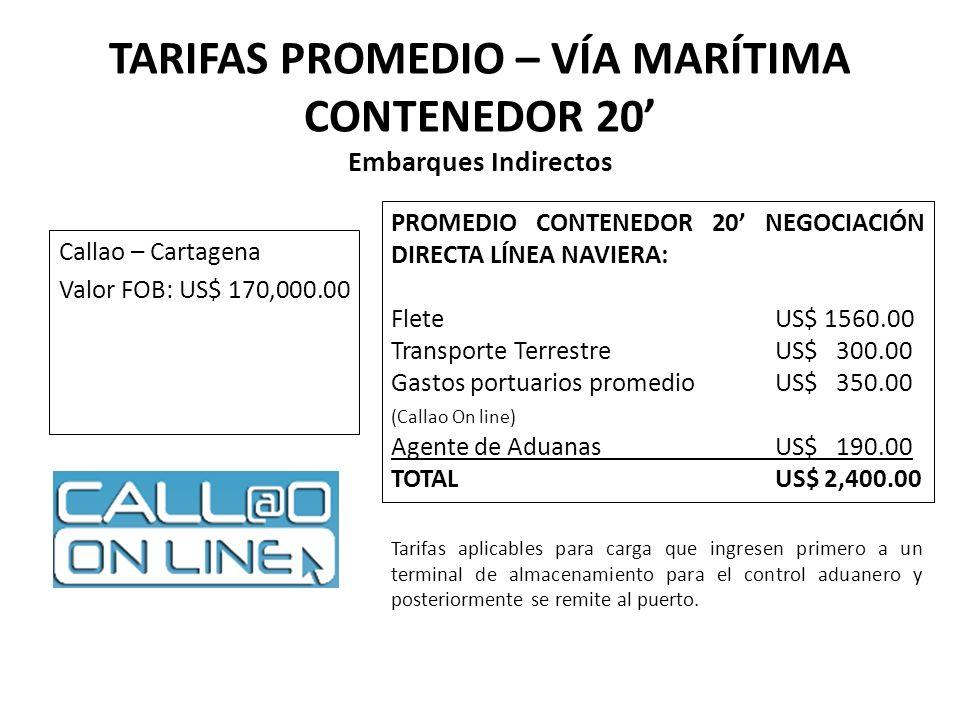TARIFAS PROMEDIO – VÍA MARÍTIMA CONTENEDOR 20 Embarques Indirectos Callao – Cartagena Valor FOB: US$ 170,000.00 PROMEDIO CONTENEDOR 20 NEGOCIACIÓN DIR