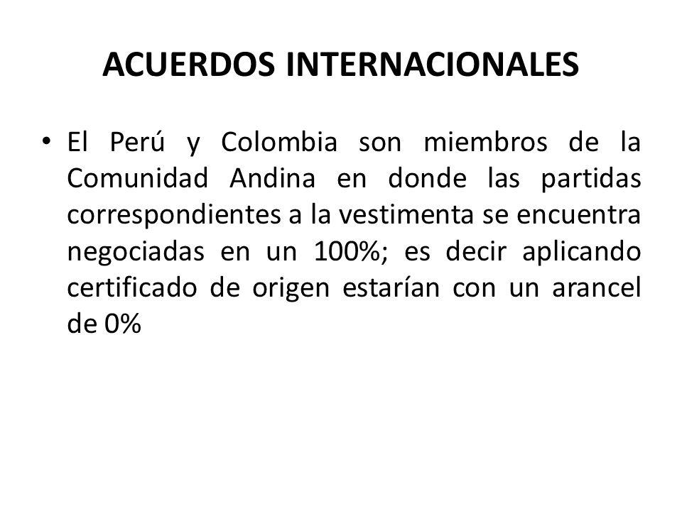 ACUERDOS INTERNACIONALES El Perú y Colombia son miembros de la Comunidad Andina en donde las partidas correspondientes a la vestimenta se encuentra ne
