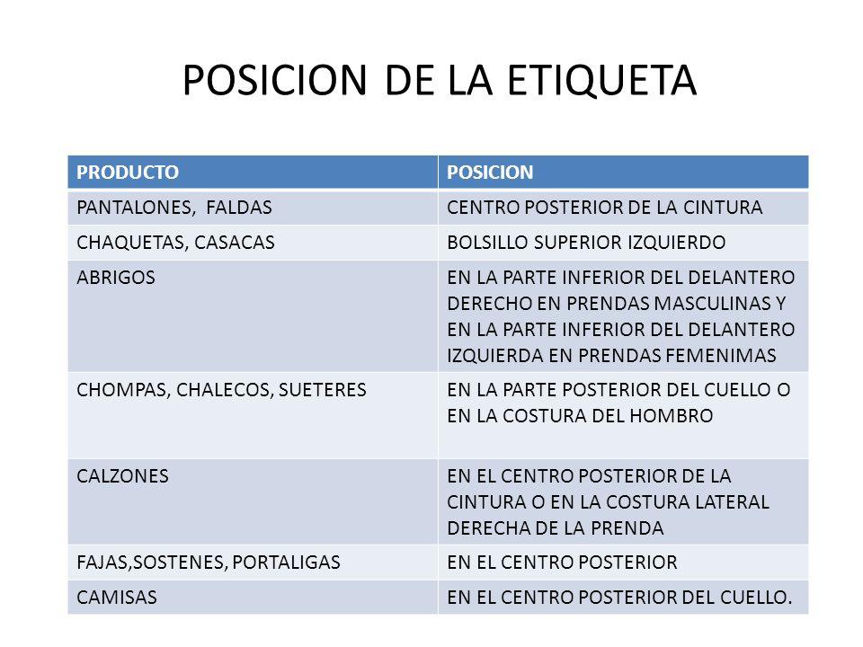 POSICION DE LA ETIQUETA PRODUCTOPOSICION PANTALONES, FALDASCENTRO POSTERIOR DE LA CINTURA CHAQUETAS, CASACASBOLSILLO SUPERIOR IZQUIERDO ABRIGOSEN LA P