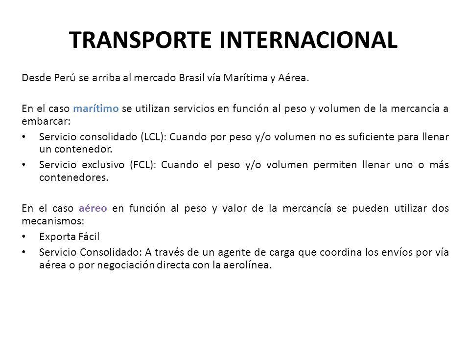 TRANSPORTE INTERNACIONAL Desde Perú se arriba al mercado Brasil vía Marítima y Aérea. En el caso marítimo se utilizan servicios en función al peso y v