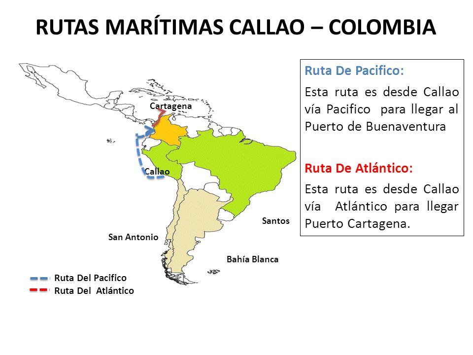 RUTAS MARÍTIMAS CALLAO – COLOMBIA San Antonio Callao Cartagena Ruta Del Pacifico Ruta Del Atlántico Ruta De Pacifico: Esta ruta es desde Callao vía Pa