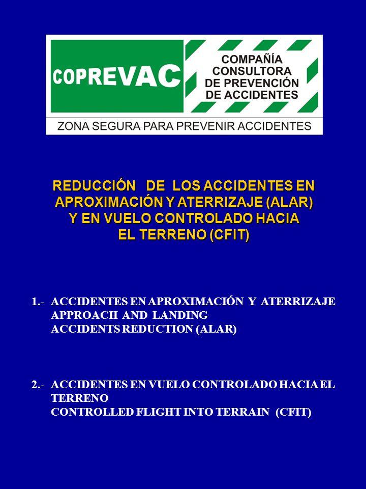 REDUCCIÓN DE LOS ACCIDENTES EN APROXIMACIÓN Y ATERRIZAJE (ALAR) Y EN VUELO CONTROLADO HACIA EL TERRENO (CFIT) 1.- ACCIDENTES EN APROXIMACIÓN Y ATERRIZ