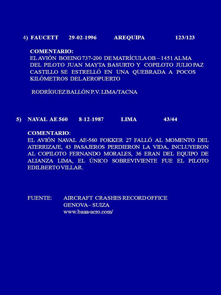 4) FAUCETT29-02-1996 AREQUIPA 123/123 COMENTARIO: EL AVIÓN BOEING 737-200 DE MATRÍCULA OB – 1451 AL MA DEL PILOTO JUAN MAYTA BASURTO Y COPILOTO JULIO