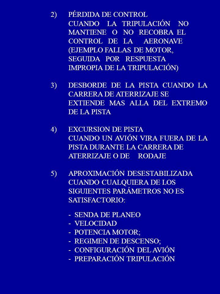 2) PÉRDIDA DE CONTROL CUANDO LA TRIPULACIÓN NO MANTIENE O NO RECOBRA EL CONTROL DE LA AERONAVE (EJEMPLO FALLAS DE MOTOR, SEGUIDA POR RESPUESTA IMPROPI
