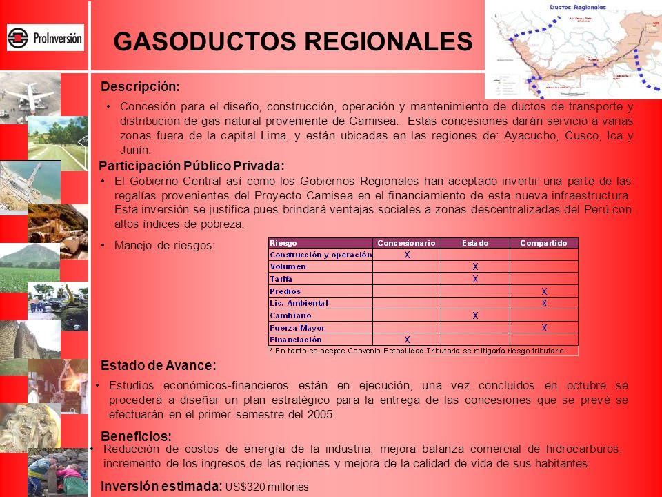 GASODUCTOS REGIONALES Concesión para el diseño, construcción, operación y mantenimiento de ductos de transporte y distribución de gas natural provenie