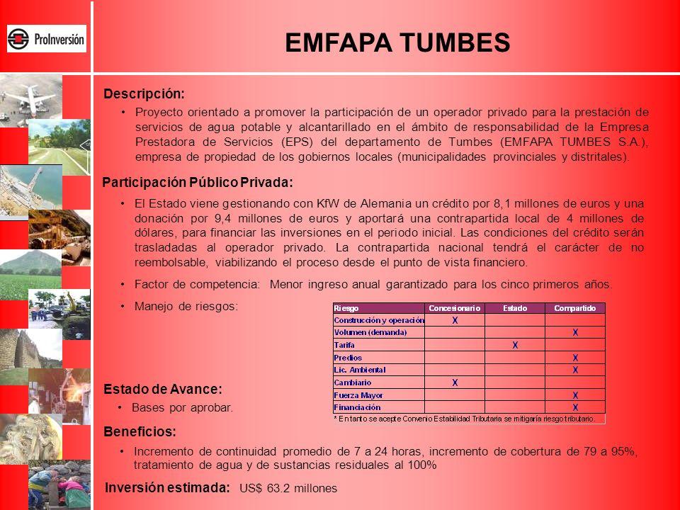EMFAPA TUMBES Proyecto orientado a promover la participación de un operador privado para la prestación de servicios de agua potable y alcantarillado e