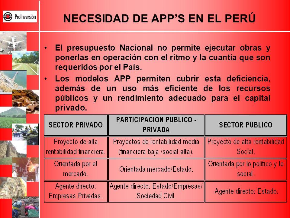 El presupuesto Nacional no permite ejecutar obras y ponerlas en operación con el ritmo y la cuantía que son requeridos por el País. Los modelos APP pe