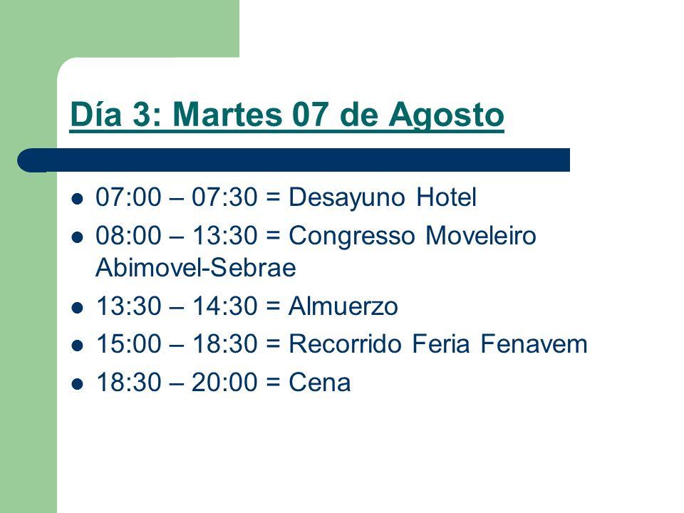 Día 3: Martes 07 de Agosto 07:00 – 07:30 = Desayuno Hotel 08:00 – 13:30 = Congresso Moveleiro Abimovel-Sebrae 13:30 – 14:30 = Almuerzo 15:00 – 18:30 = Recorrido Feria Fenavem 18:30 – 20:00 = Cena