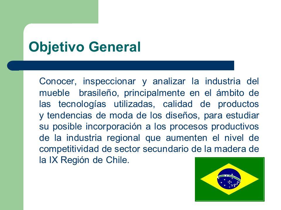 Objetivo General Conocer, inspeccionar y analizar la industria del mueble brasileño, principalmente en el ámbito de las tecnologías utilizadas, calidad de productos y tendencias de moda de los diseños, para estudiar su posible incorporación a los procesos productivos de la industria regional que aumenten el nivel de competitividad de sector secundario de la madera de la IX Región de Chile.