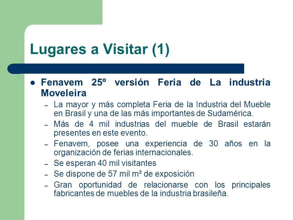 Lugares a Visitar (1) Fenavem 25º versión Feria de La industria Moveleira – La mayor y más completa Feria de la Industria del Mueble en Brasil y una de las más importantes de Sudamérica.